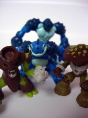 Playmates Gormiti Spores, Cannon Trunk, Hypnofrog, and Carrapax